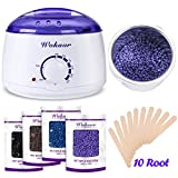 Depilatory Wax Kit - Wokaar Wax Warmer Hair Removal Waxing Kit with 4 Hard Wax Beans and 10 Wax Applicator Sticks