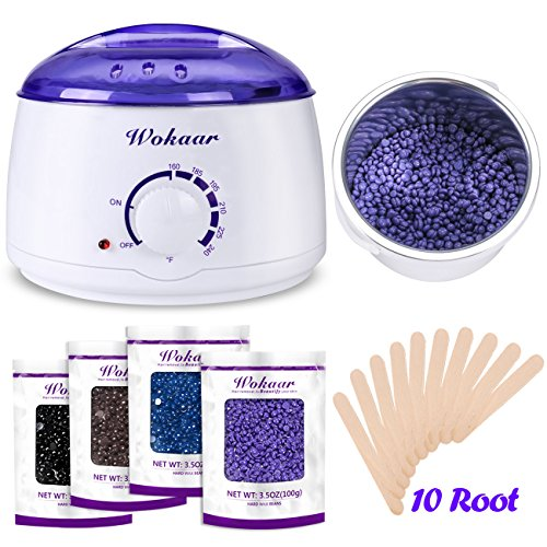 Home Wax - Rapid Melt Hair Removal Waxing Kit Electric Hot Wax Warmer with 4 different flavors Hard Wax Beans and Wax Applicator Sticks 3.5 oz A Bag Of Wax Beans(Chamomile, Lavender,Nature,Chocolate)