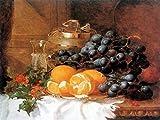 Still Life of grapes orange by Eloise Harriet Stannard tablecloth wineglass berry Accent Tile Mural Kitchen Bathroom Wall Backsplash Behind Stove Range Sink Splashback One Tile 8''x6'' Ceramic, Glossy