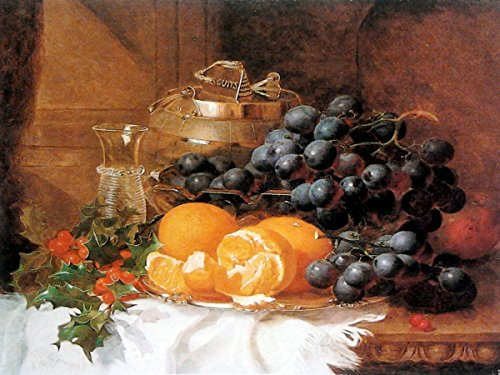 Still Life of grapes orange by Eloise Harriet Stannard tablecloth wineglass berry Accent Tile Mural Kitchen Bathroom Wall Backsplash Behind Stove Range Sink Splashback One Tile 8