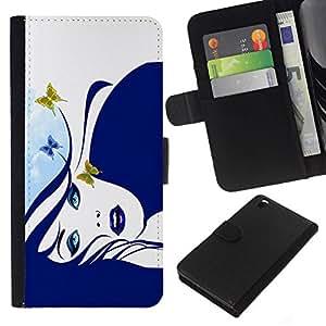 // PHONE CASE GIFT // Moda Estuche Funda de Cuero Billetera Tarjeta de crédito dinero bolsa Cubierta de proteccion Caso HTC DESIRE 816 / Blue Butterfly Girl /
