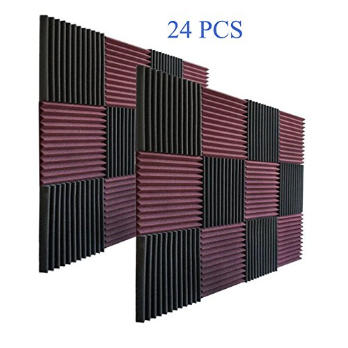 24 Pack- Charcoal Acoustic Panels Studio Soundproofing Foam Wedges Tiles Fireproof 1'' X 12'' X 12'' by MIUCOO (Image #5)