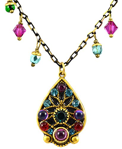 Michal Golan Prismatic Beaded Teardrop Necklace on Black and Gold Chain
