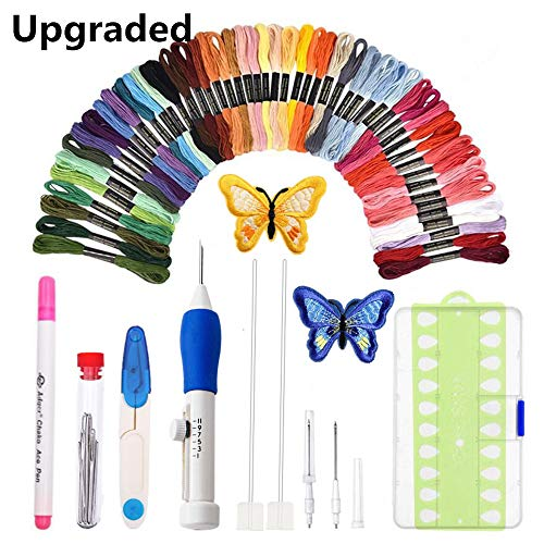 [Upgraded]Punch Needle Embroidery Kit,Magic Embroidery Pen Punch Needle Set with 50 Colors Threads&Embroidery Tools ()