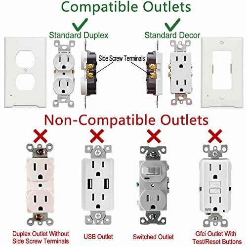4Pack Decora LED Night Light Wall Outlet Cover Plate Easy Install And Requires No Wires Or Batteries,1 Gang Decorator Wallplate,Night Guide Light Square Outlet Cover,Not Work With GFCI Outlet,White