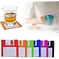 Floppy Silicone Disk Coasters,Durable, Heat-Resistant, Retro Writing Coasters,Novelty Floppy Disk Silicone Disk Drink…