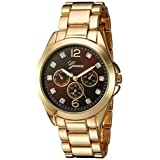 Geneva Women's GV/1008BKGB Crystal-Accented Gold-Tone Bracelet Watch