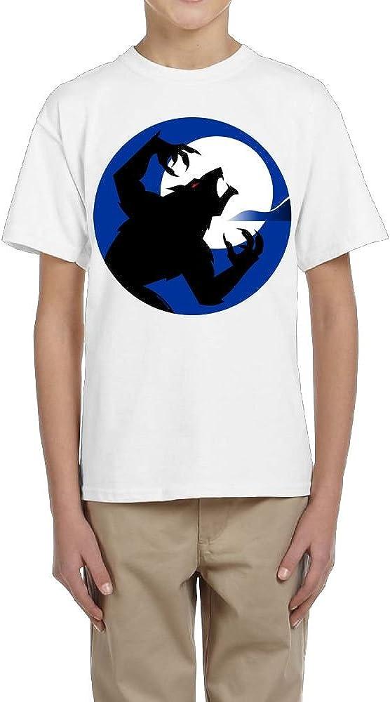 Boys Short Sleeve Shirt Crew-Neck Ferocious Wolf and Moon