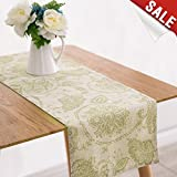 country kitchen tablecloths Table Runner Linen Textured 13 x 72 inch Scroll Patten Triangular Decorative Burlap Tablecovers Rustic Floral Design Handcrafted Flax Tablecloths, Sage…