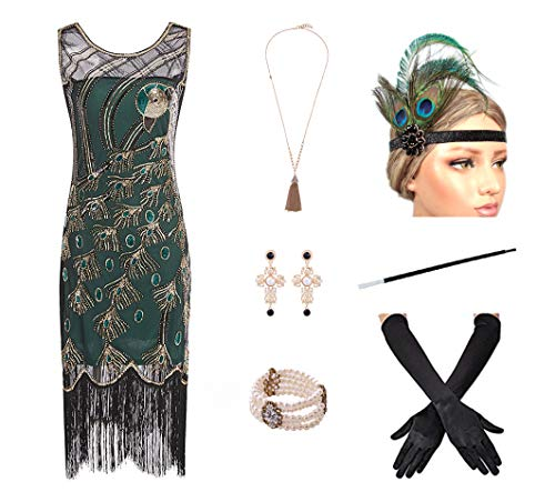 1920s Women's Gatsby Costume Flapper Dresses V Neck Fringed Dress with 20s Accessories Set of -