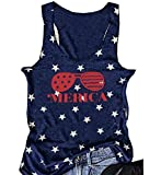 FAYALEQ Women American Flag Sunglasses Tank Tops Letters Print Sleeveless T-Shirt Blouse Size Large (Dark Blue)