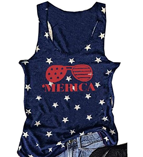 American Flat Glass (JINTING Women American Flag Glasses Tank Tops Sunglasses Printed Sleeveless Tank Tee Size M (Dark Blue))