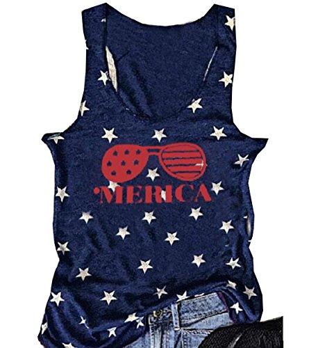 Women American Flag Sunglasses Tank Tops Letters Print Sleeveless T-Shirt Blouse size Medium (Dark - Tank American Sunglasses Flag