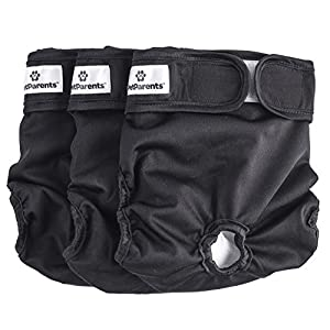Pet Parents Washable Dog Diapers (3pack) of Doggie Diapers, Color: Black, Size: Large Dog Diapers