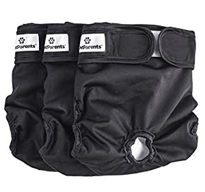 Washable Dog Diapers (3pack) of Durable Doggie Diapers, Works For Both Male Dog Diapers and Female Dog Diapers, Comfy And Stylish Dog Wraps, Premium Diapers For Dogs By Pet Parents (Small, Black)