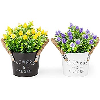 MIXROSE Artificial Plastic Mini Plants Fake Flower in Metal Pot for Home Décor Purple and Yellow - Set of 2