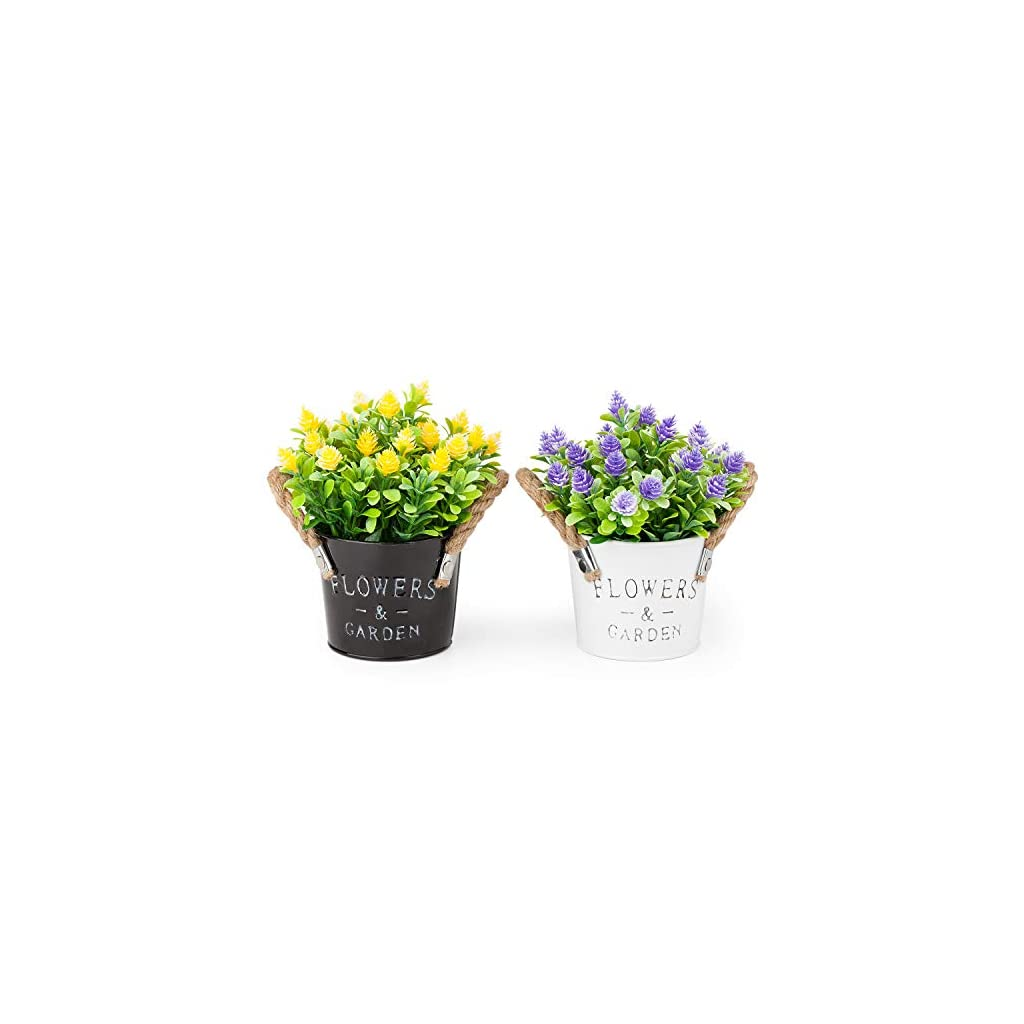 MIXROSE-Artificial-Plastic-Mini-Plants-Fake-Flower-in-Metal-Pot-for-Home-Dcor-Purple-and-Yellow–Set-of-2