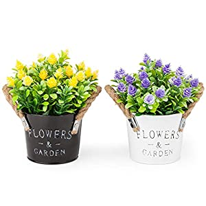 MIXROSE Artificial Plastic Mini Plants Fake Flower in Metal Pot for Home Décor Purple and Yellow – Set of 2 101