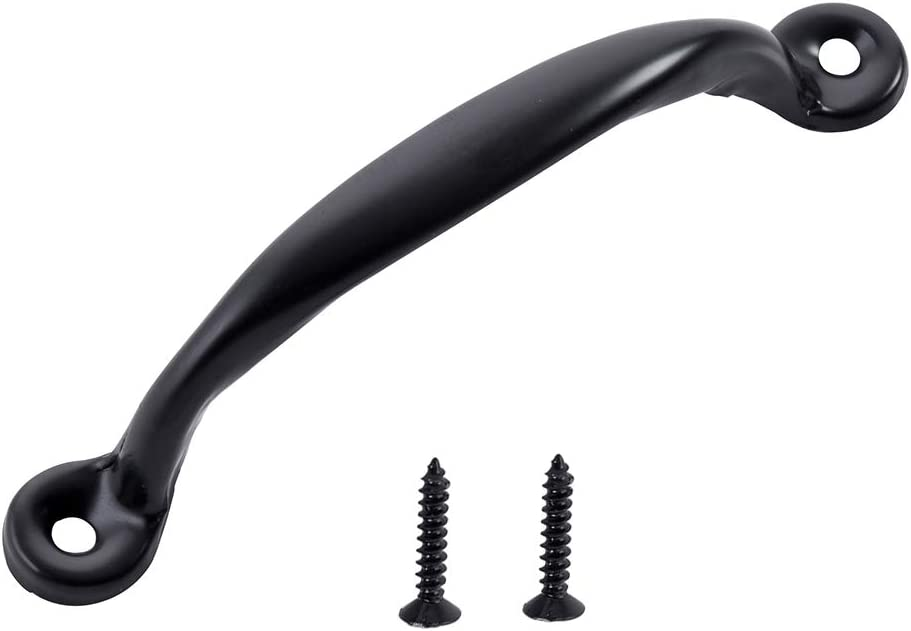 Home Master Hardware 4-7/8 inch Gate Pull Door Handle Black Coated Finish with Screws for Gate Kitchen Furniture Cabinet Closet Drawer 50 Pack