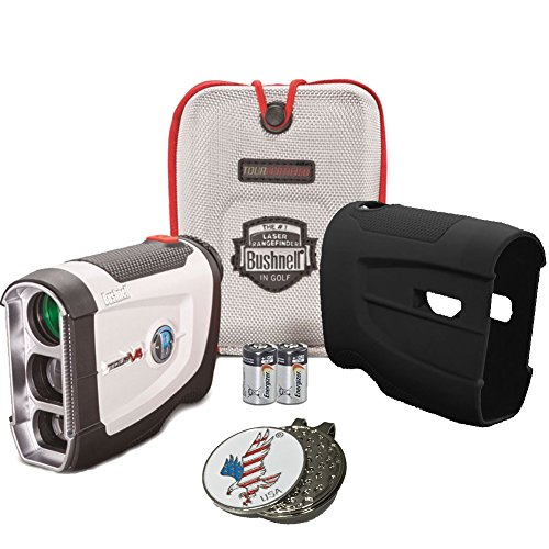 Bundle: Bushnell 2016 Tour V4 Jolt Patriot Pack Golf Laser Rangefinder + CR2 Battery + 1 Custom Ball Marker Clip Set (American Eagle) + Black Silicon Skin (Cover More See Putter)