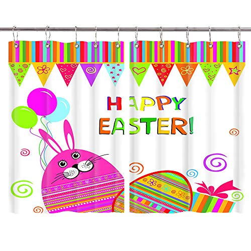 JAWO Easter Day Kitchen Window Curtains Decor, Colorful Easter Eggs Bunny Balloon Bunting Window Drapes, Window Treatment Sets Curtains 2 Panels with Hooks, 55X39Inches (Balloons Same Day Send)