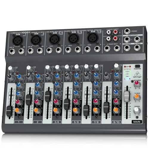 Behringer Xenyx 1002B Premium 10-Input 2-Bus Mixer with XENYX Preamps, British EQs and Optional Battery Operation ()