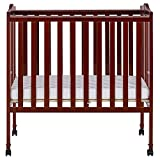 Dream On Me 2 in 1 Lightweight Folding Portable Stationary Side Crib, Cherry