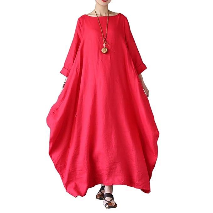 7b050c574e4 Goocheer Women s 3 4 Sleeve Plain Maxi Dress Loose Casual Long Dresses at  Amazon Women s Clothing store