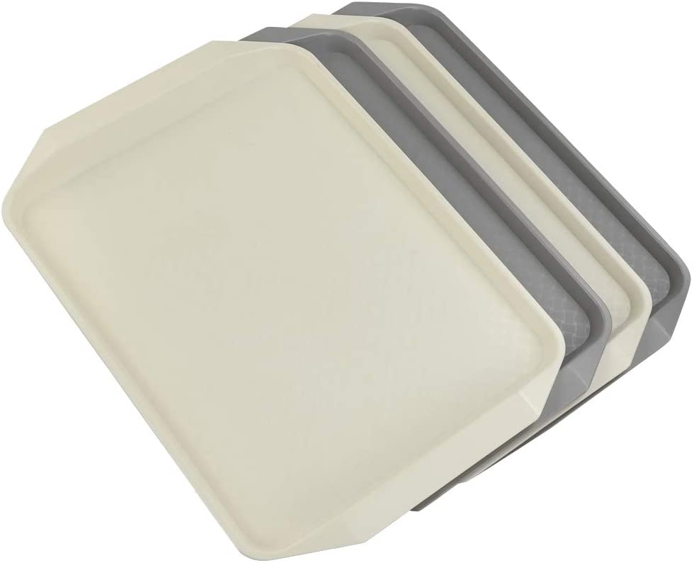 Ramddy Plastic Fast Food Trays for Eating, 4 Packs(Grey and Beige)