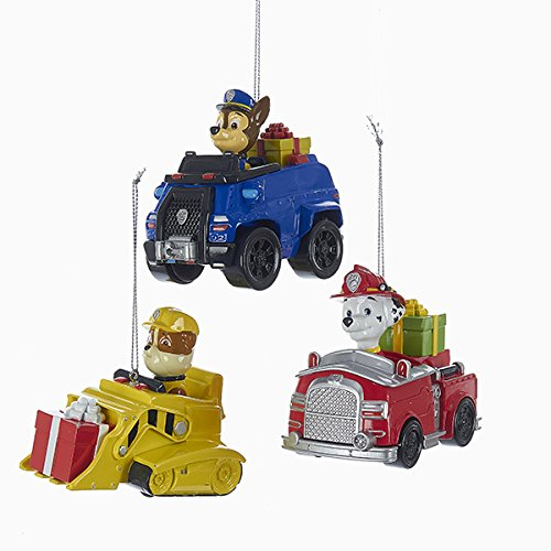 amazoncom kurt adler 3 assorted paw patrol characters on trucks multiples christmas ornaments home kitchen - Paw Patrol Christmas Decorations