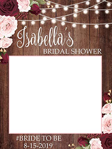 Personalized Rustic Bridal Shower Decorations, Custom Floral Bridal Shower Photo Pro - Sizes 36x24, 48x36; Bridal Shower Photo Prop, Wooden Bridal Shower Photo Prop, Handmade Party Supply Photo Booth