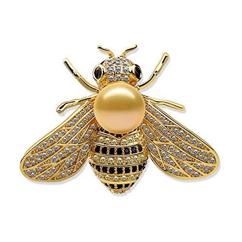 CRARINE Women Crystal Brooch Pins Wedding Brooches Bouquet Cute Animal Bee Butterfly Dragonfly Pearl Swarovski (Bee Yellow Pearl)