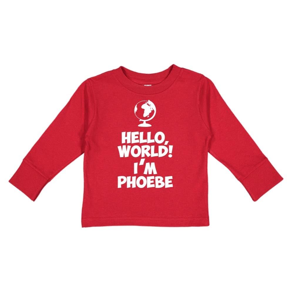 Personalized Name Toddler//Kids Long Sleeve T-Shirt World Mashed Clothing Hello Im Phoebe