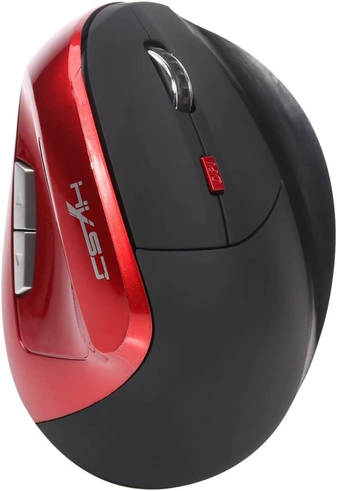 Color : Red LIYUNSHU X60 2.4GHz 2400DPI Three-Speed Adjustable Rechargeable Vertical Wireless Optical Gaming Mouse Black