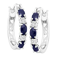 2 1/10 ct Natural Sapphire Hoop Earrings with Diamonds in Platinum over Brass