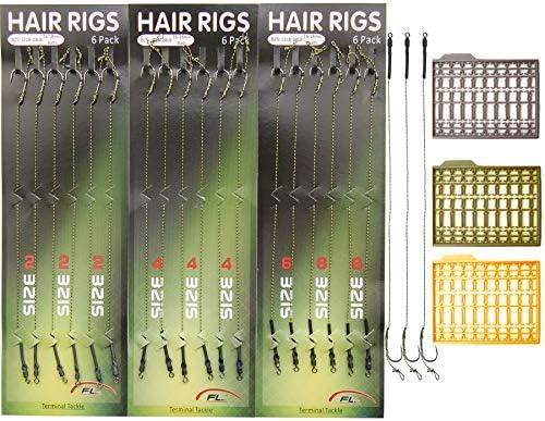 Shaddock 18pcs Karpfenangeln Haar-Rigs Boilie Rig Karpfen Vorfach Geflochtene Schnur Angelhaken Handgefertigt Karpfenrigs mit Boilie-Stoppers