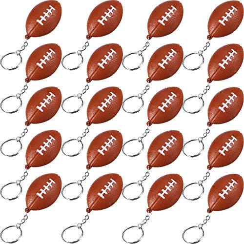 Football Key Chain - Blulu 20 Pack Orange Football Keychains for Party Favors, School Carnival Reward, Party Bag Gift Fillers (Football Keychains, 20 Pack)