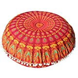 Round Floor Cushion Cover Red Mandala Throw Pillow Case 32 Inches Bohemian Round Pouf Cover Boho Home Décor Hippy Decoration Indian Seating Pouffe By Darjii