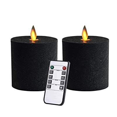 Only-us Flickering LED Flameless Candles Battery Operated with Remote Control Timers for Fireplace/Table Centrepiece/Halloween Black Pillar Candles 3x3 in Flat top 2pcs: Home Improvement