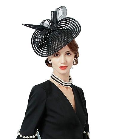 XJYA Cappello Fascinator Elegante Donna Fiore Della Piuma Nuziale Accessori Per  Capelli Banchetto Per Cocktail df76d53e0972