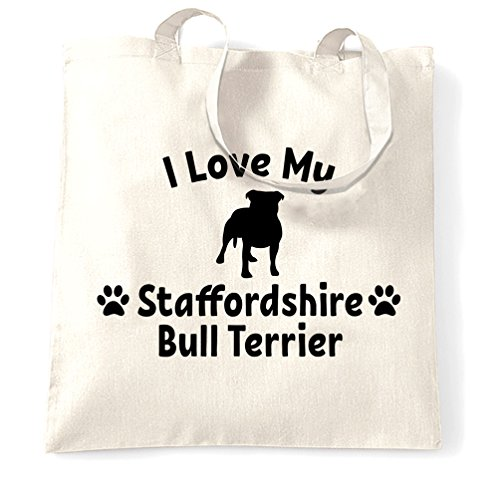 - Dog Owner Tote Bag I Love My Staffordshire Bull Terrier White One Size