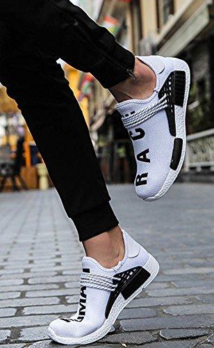 delle Scarpe 47 Bianco Sneaker Scarpe Senza Elastica Sportive Scarpe Uomo 39 wealsex Lacci Banda Casual YwaACYx