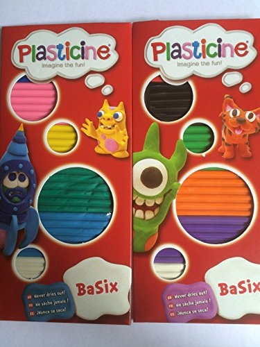 2 x Packs Plasticine Basix TWO Different Colour Sets of 6 Colour Strip Pack