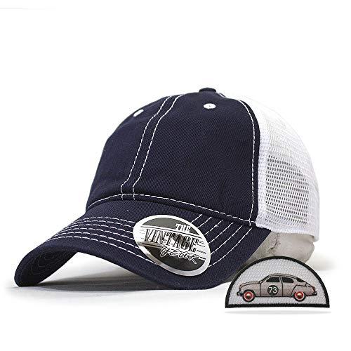 - Vintage Year Washed Cotton Low Profile Mesh Adjustable Trucker Baseball Cap (Navy/Navy/White)