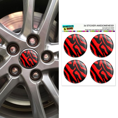 Zebra Print Black Red Wheel Center Cap 3D Domed Stickers Badges - Set of 4 (Set Zebra Decal)