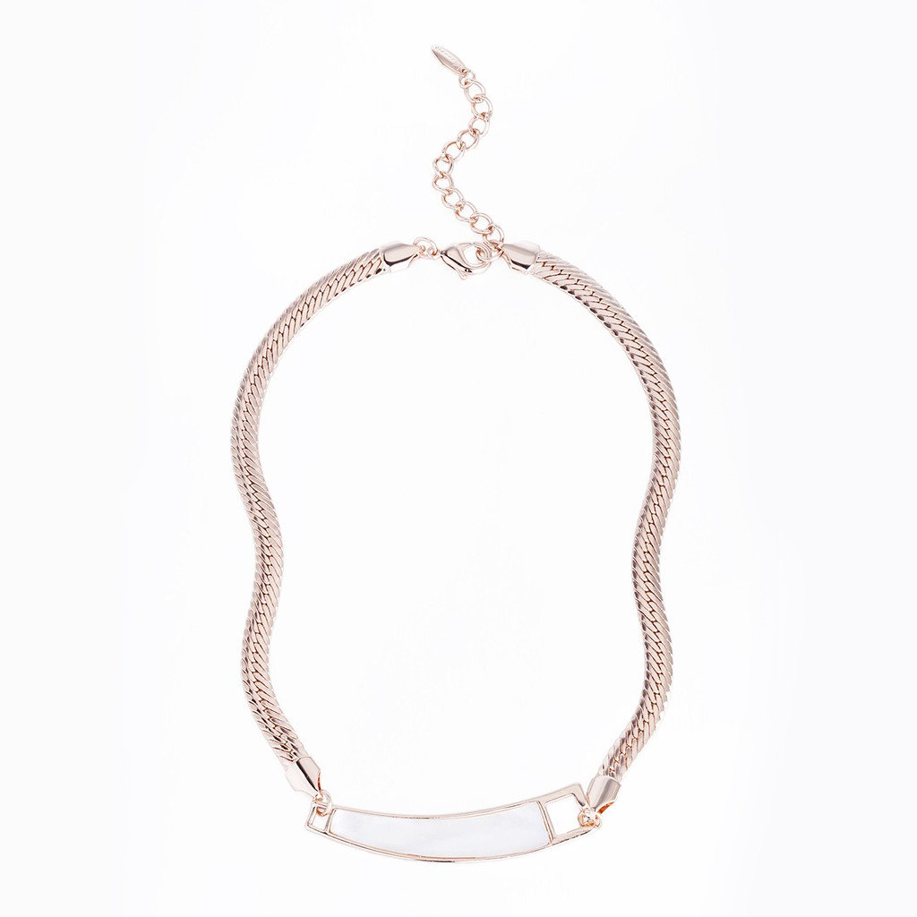 14K Rose Gold or Silver Rhodium Plating Options. Simple Classic /& Modern Fine Neck Jewellery for any Occasion Everlasting Style Janeo Chain and Pendant Necklace Real Mother Of Pearl Inlaid