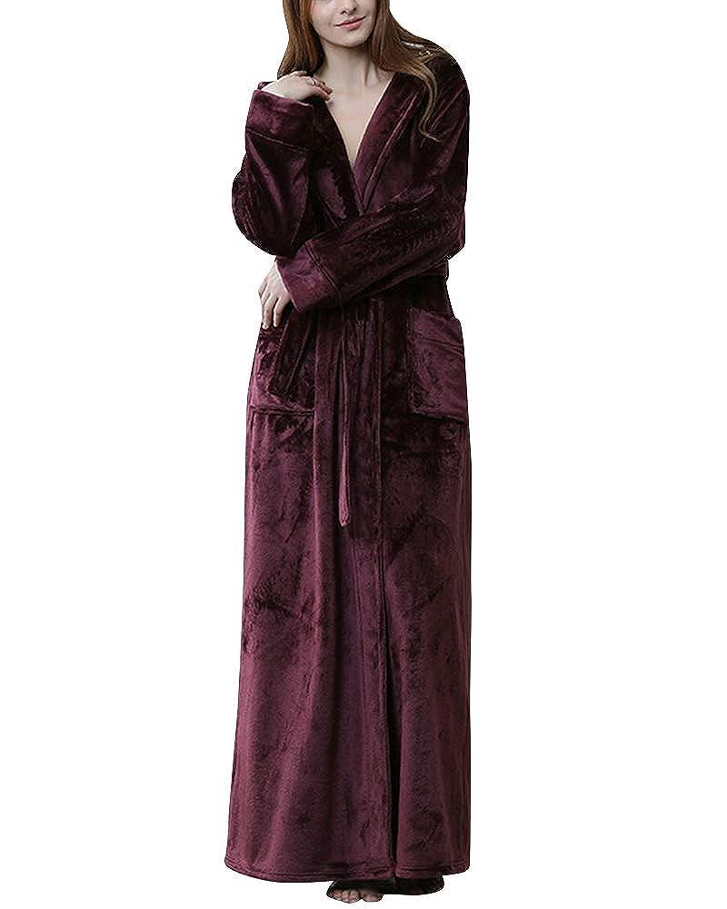 DianShaoA Vestaglia Calda Da Donna Accappatoio In Pile Super Morbido Con Cappuccio