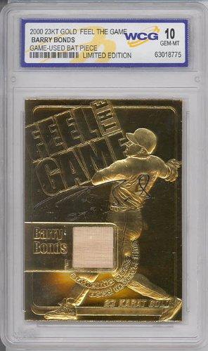 BARRY BONDS 2000 Game Used Bat 23KT Gold Card Sculptured - Graded GEM MINT 10 (Barry Bonds Bats)