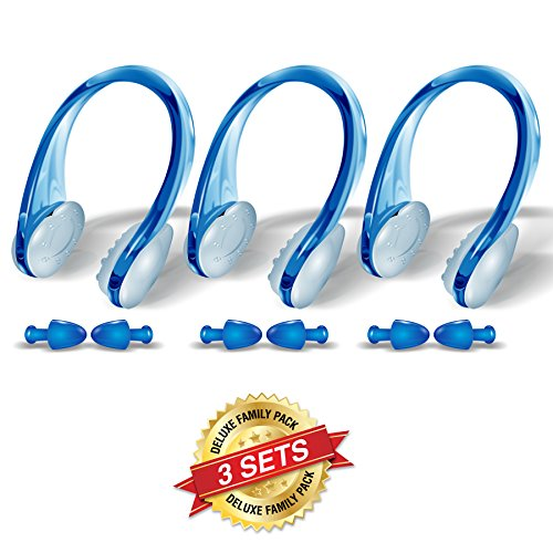 Swimming Nose clips and Earplugs Mega set of 3 Family Pack Pro Edition By BLUPOND (Blue)