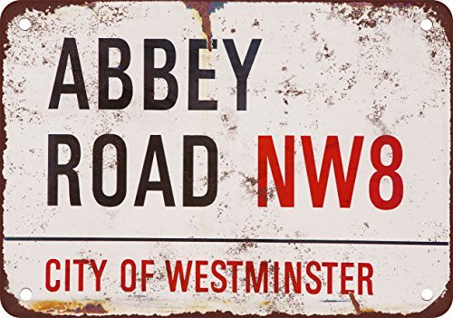 Beatles Abbey Road Vintage Look Reproduction Metal Tin Sign 12X18 Inches